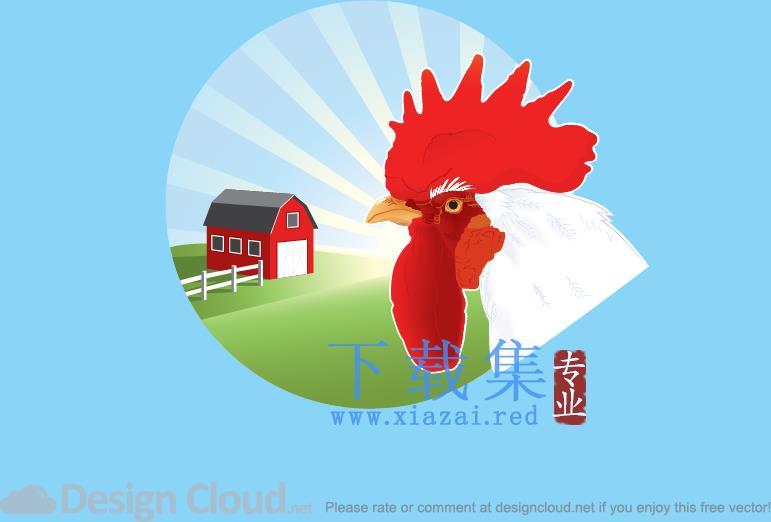 日出时在农场上的公鸡AI矢量素材  第1张