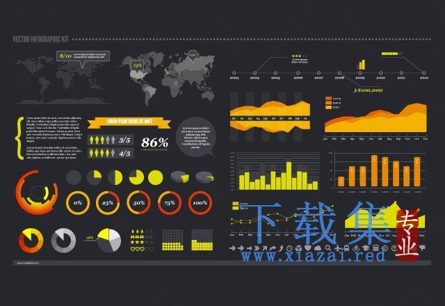 黑色信息图表AI,EPS,SVG矢量元素