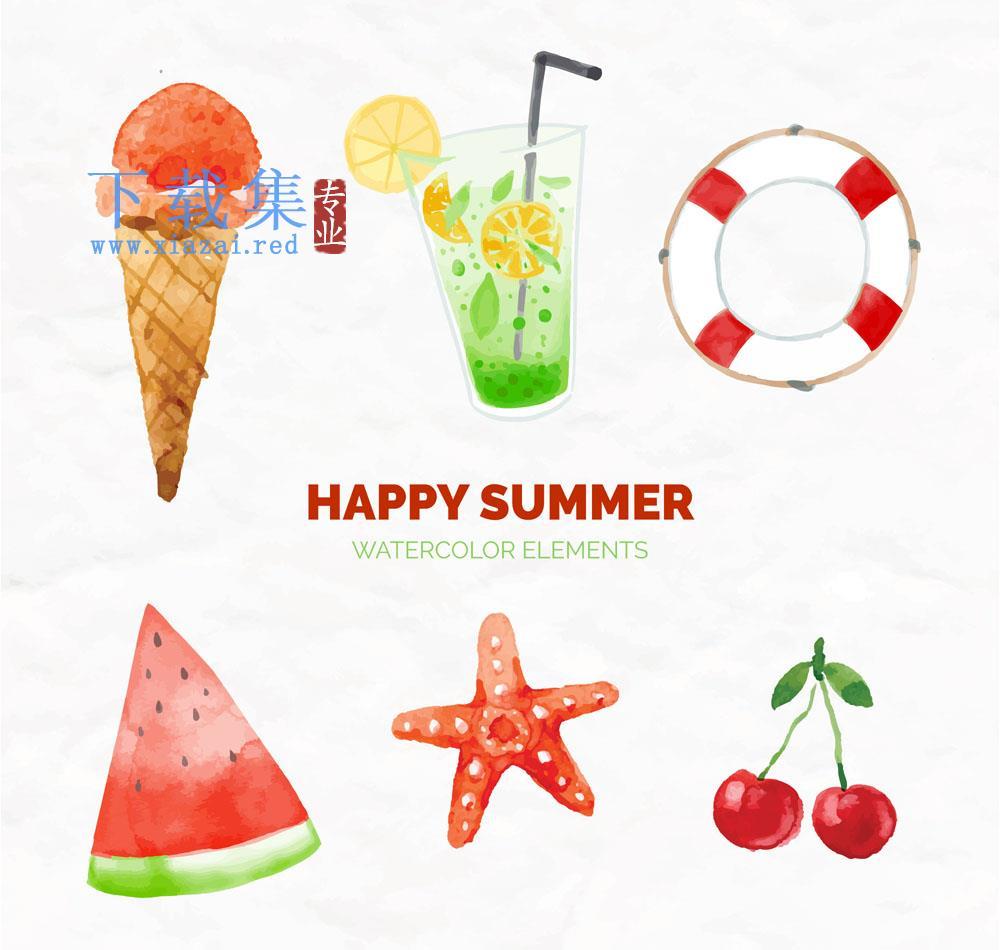 6个清凉快乐夏季AI矢量素材