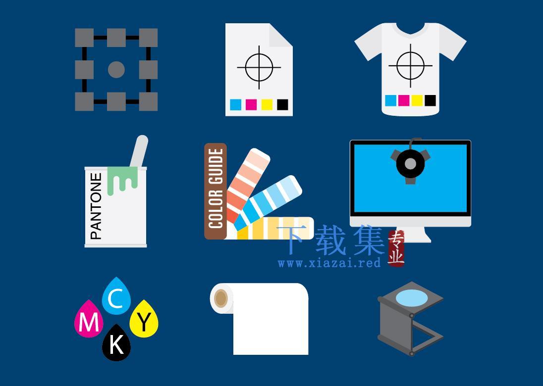 9个打印元素AI图标
