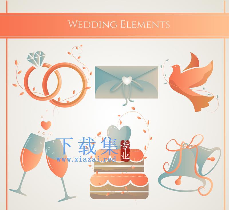 6个红色创意婚礼ai矢量元素图标  第1张