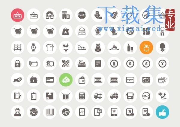 70个电子商务购物AI,EPS,PSD图标