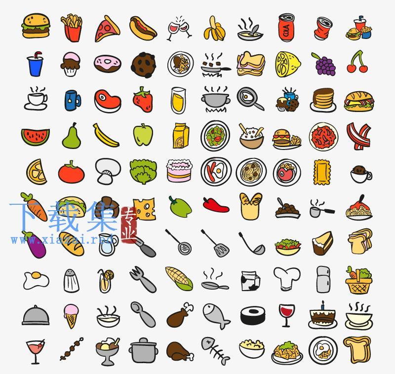 100个厨房用品和食物AI矢量素材  第1张