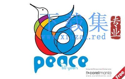 抽象艺术的和平鸽LOGO标志EPS矢量素材  第1张