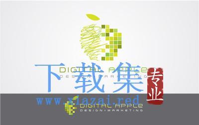 涂鸦数字化的绿色苹果LOGO标志AI矢量素材