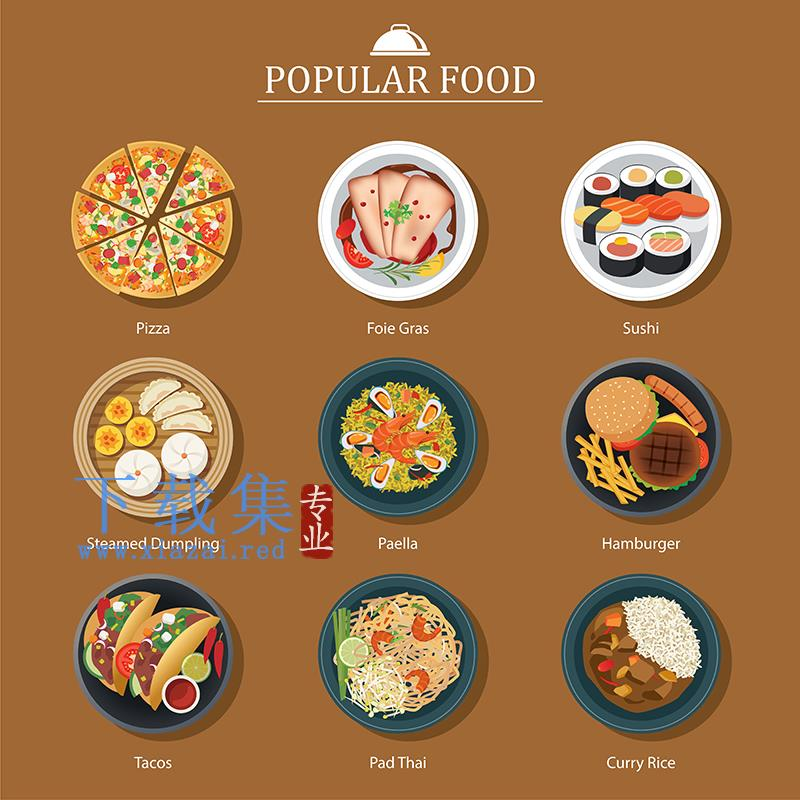 流行食物EPS矢量图标