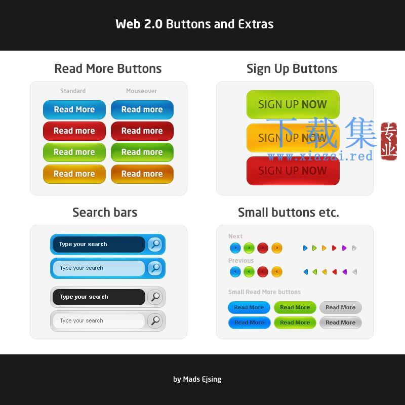 网页设计按钮标签PSD图标
