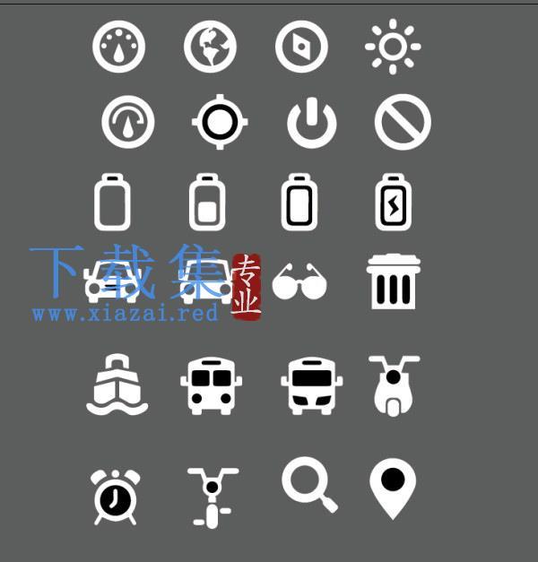 24个汽车及电池等图标矢量模板