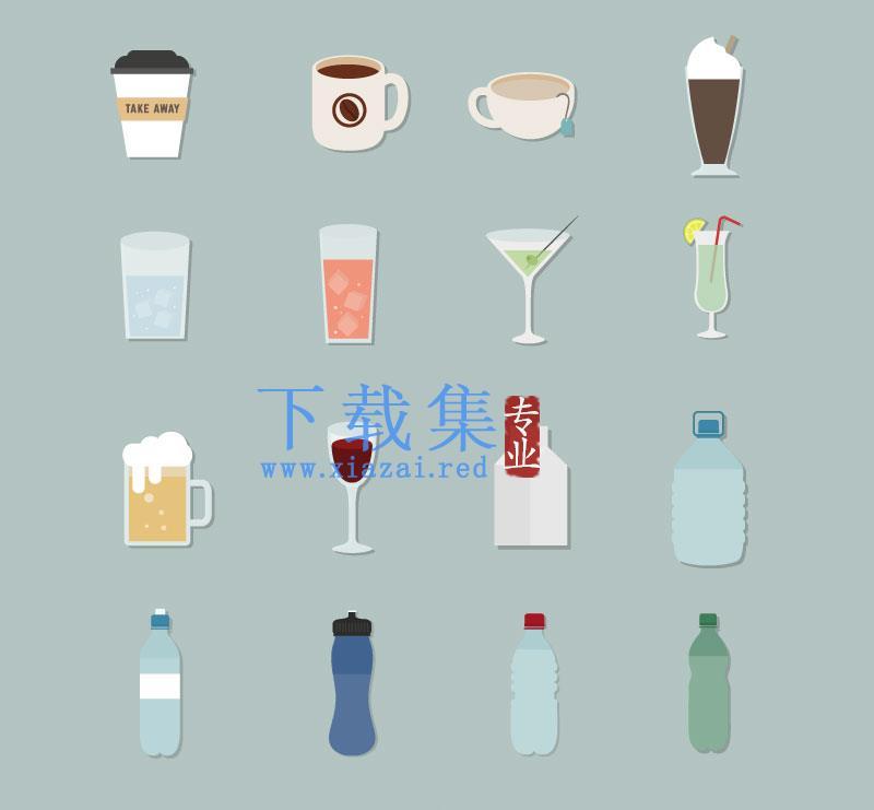 16个饮料瓶子杯子图标AI矢量素材  第1张