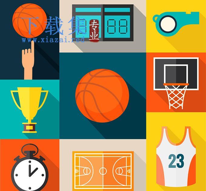 篮球元素AI矢量图标  第1张