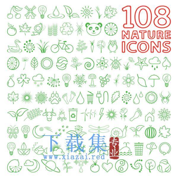 108个和自然有关的矢量图标素材  第1张