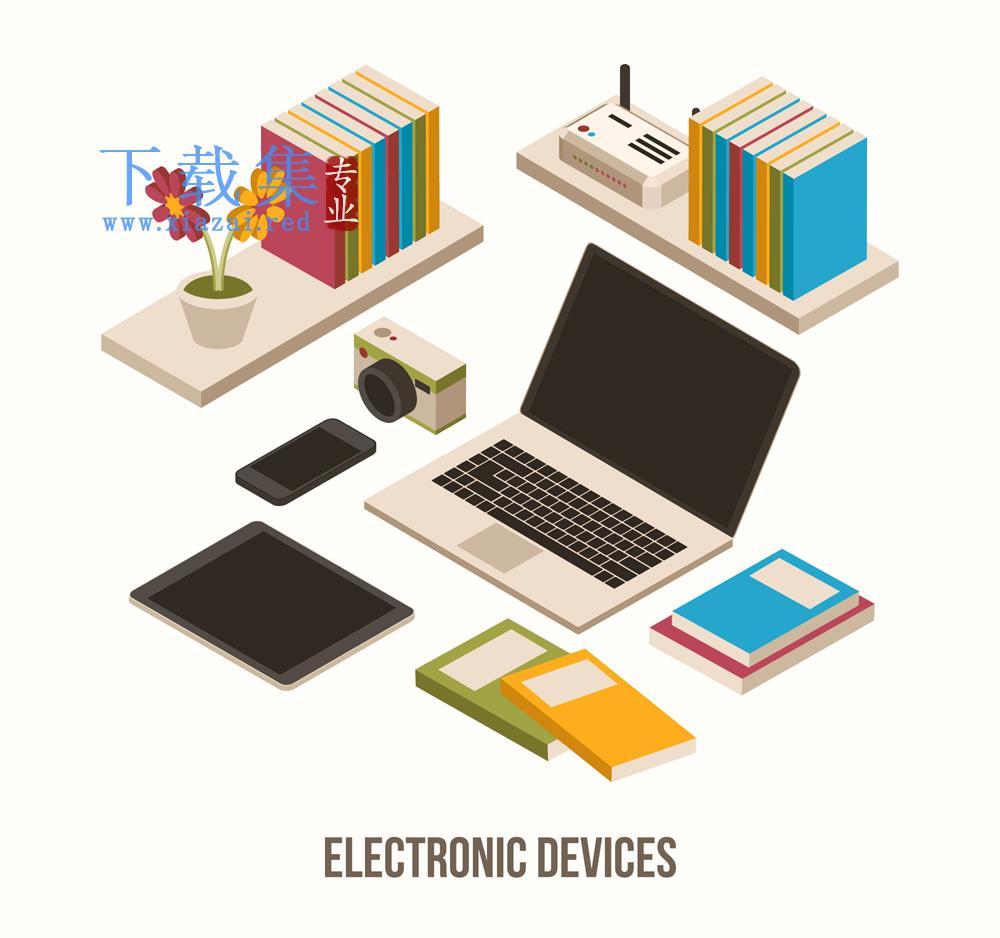 电子产品书本摆件矢量素材