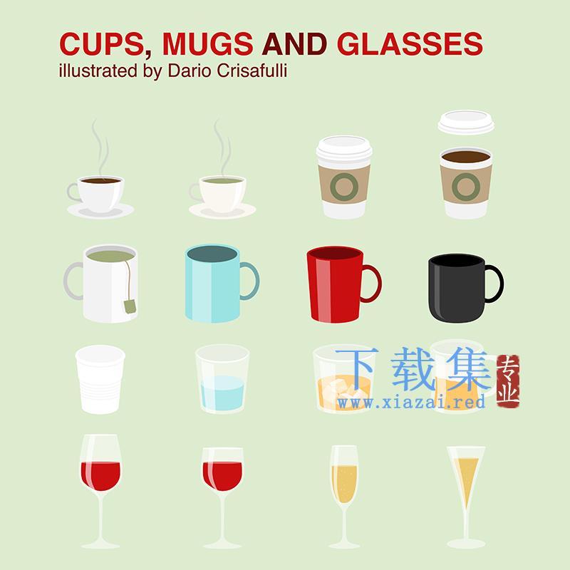 16个杯子,马克杯和透明玻璃杯AI矢量图标  第1张