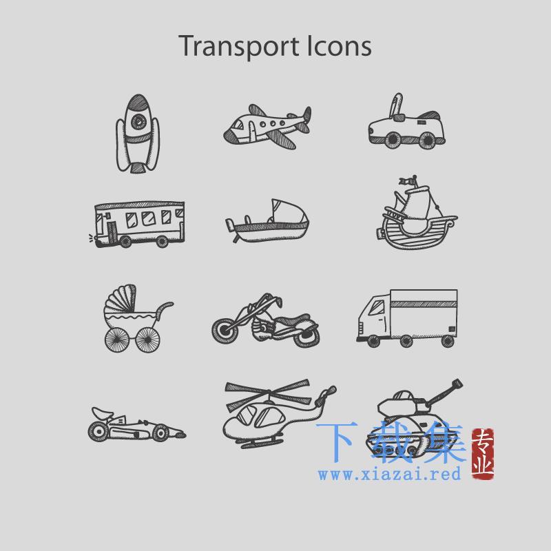 12个手绘飞机车辆轮船铅笔画AI矢量图标  第1张