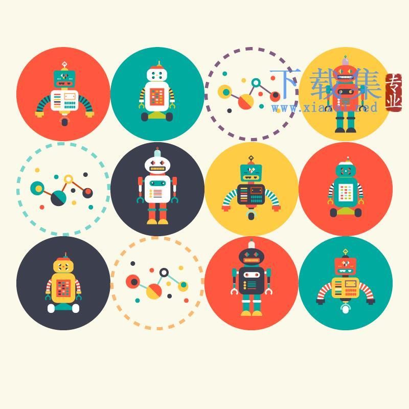 9个圆形机器人矢量图标  第1张