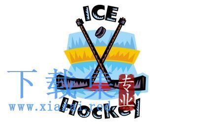 冰上曲棍球的LOGO标识EPS矢量素材