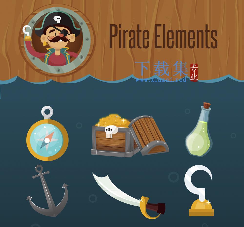 10个卡通海盗矢量元素