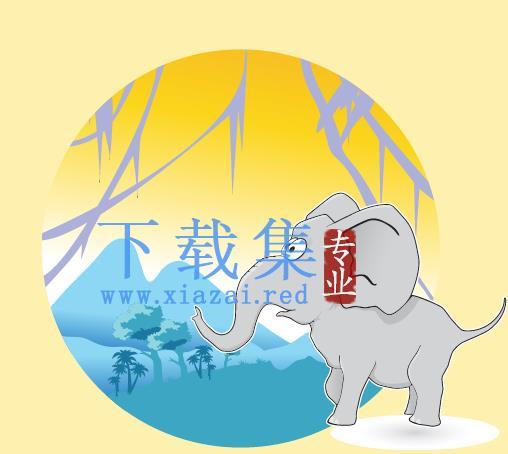 困惑的卡通大象AI矢量素材  第1张