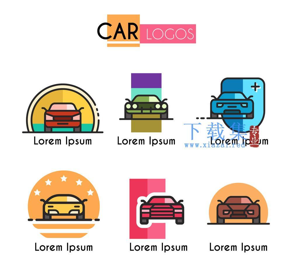6个彩色汽车车辆矢量标志