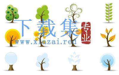 三个季节风格的树图标EPS矢量素材