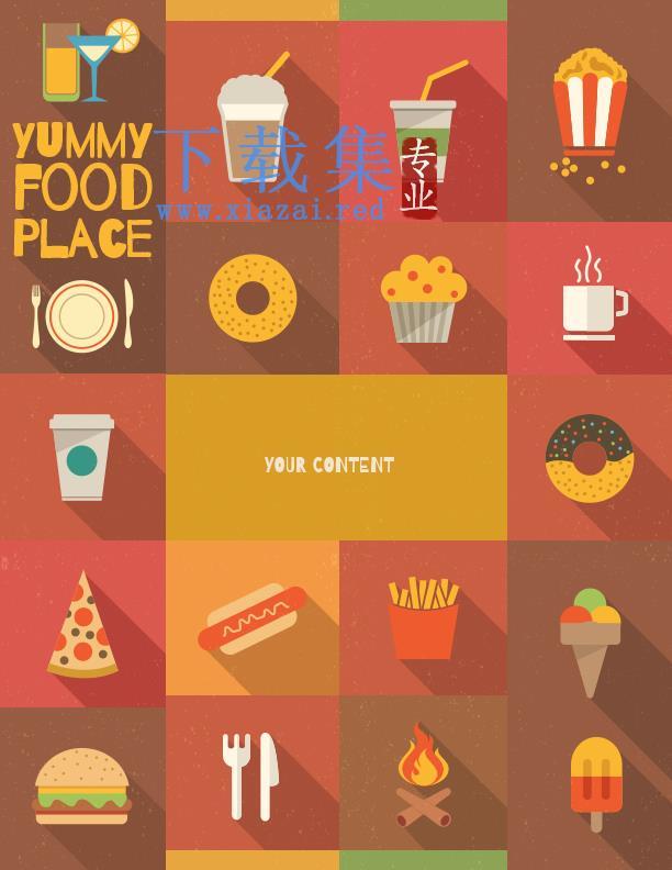 食物及旅游海报PSD图标分层模板