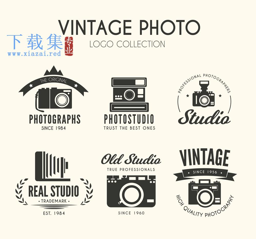6个黑色复古相机标志矢量素材