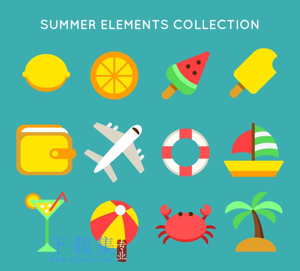 12个彩色暑假渡假元素AI矢量图标