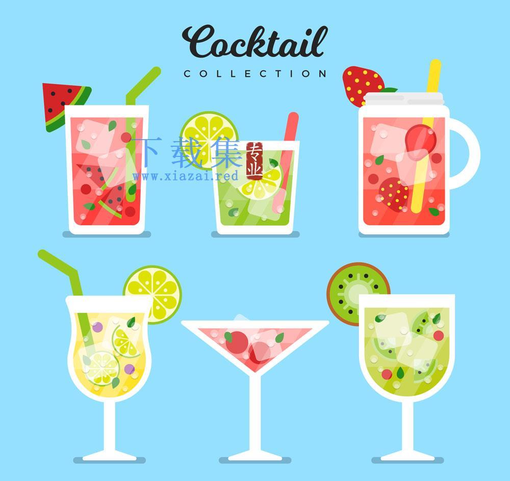 6款夏季水果加冰鸡尾酒矢量元素