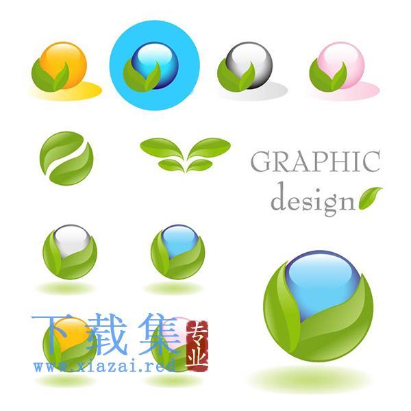 绿叶包含圆形球体的图标EPS矢量素材