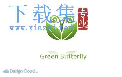 绿色蝴蝶形状的叶子抽象LOGO模板EPS矢量素材  第1张