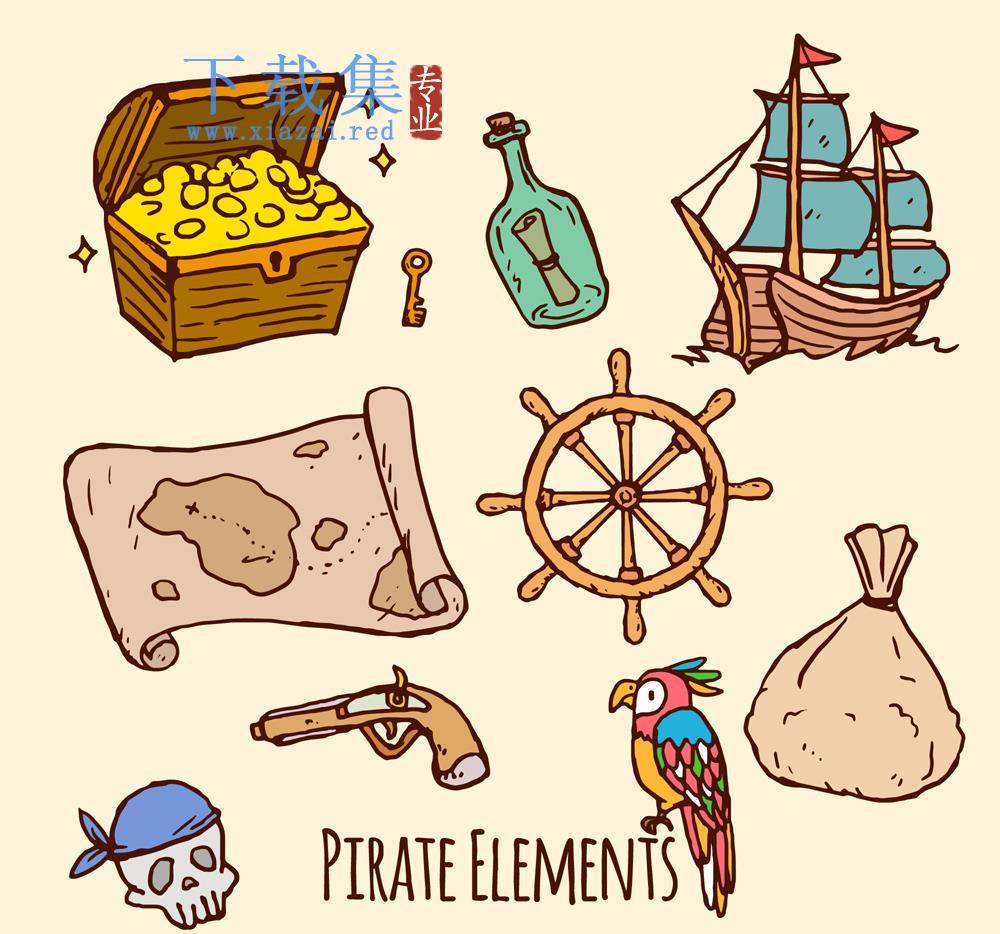 9个海盗元素AI矢量素材  第1张