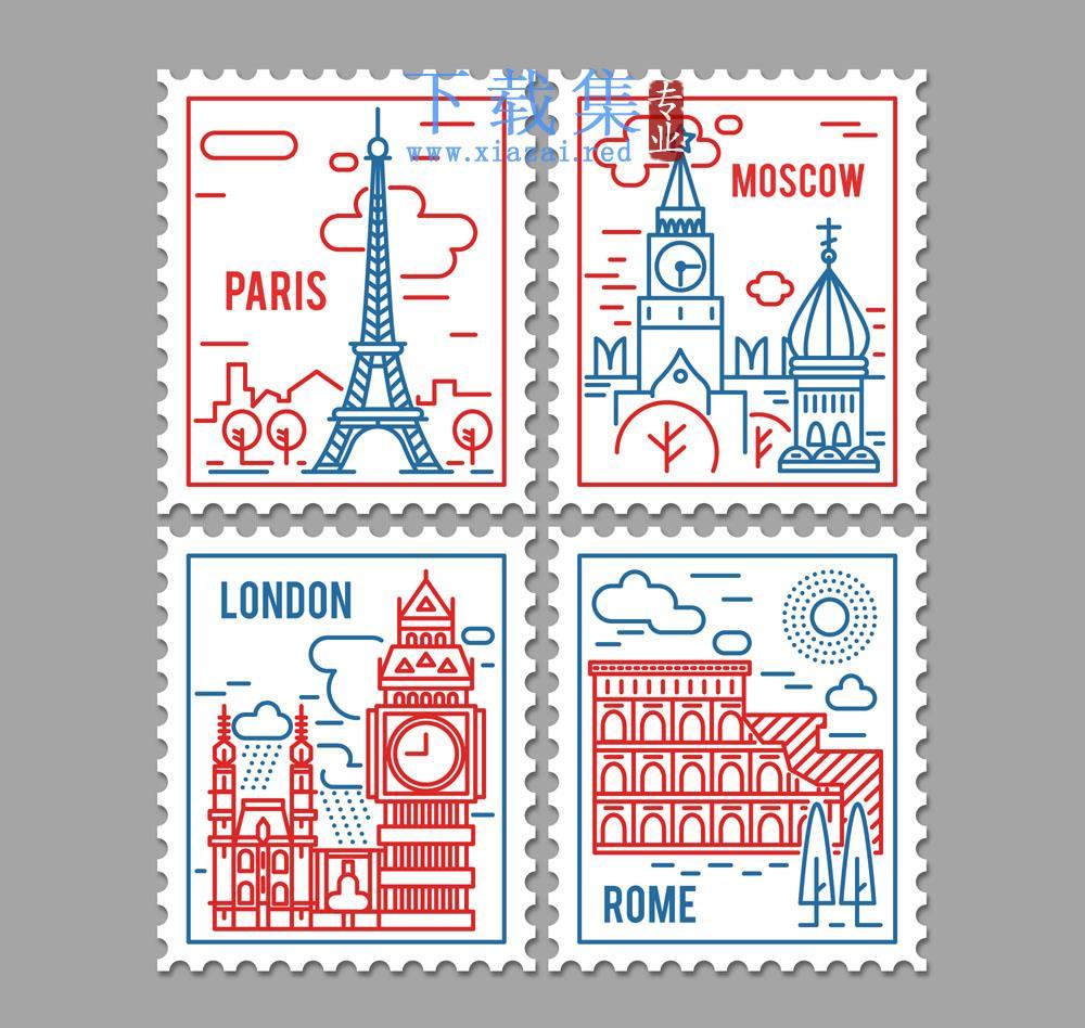 4款世界著名建筑背景邮票矢量素材