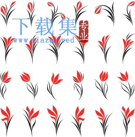 红色时尚和美丽的花卉图案EPS矢量模板