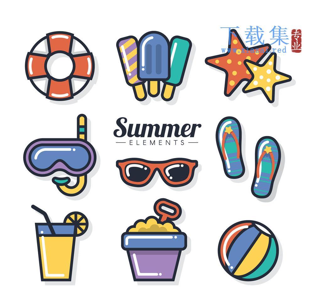 9个彩色夏日清凉元素矢量模板  第1张
