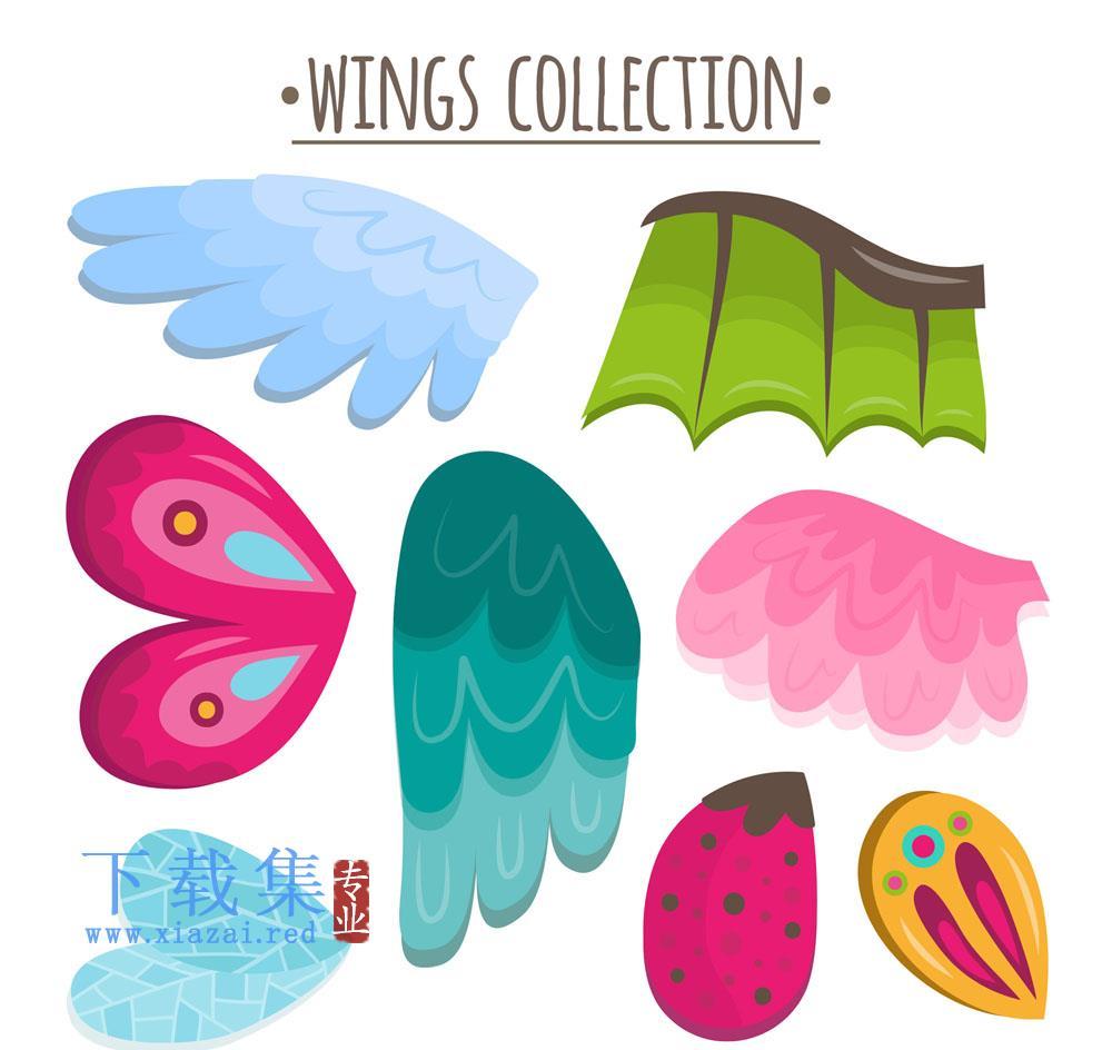 8个彩色动物翅膀AI矢量素材