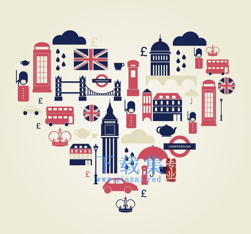 伦敦旅游元素背景AI矢量图标  第1张