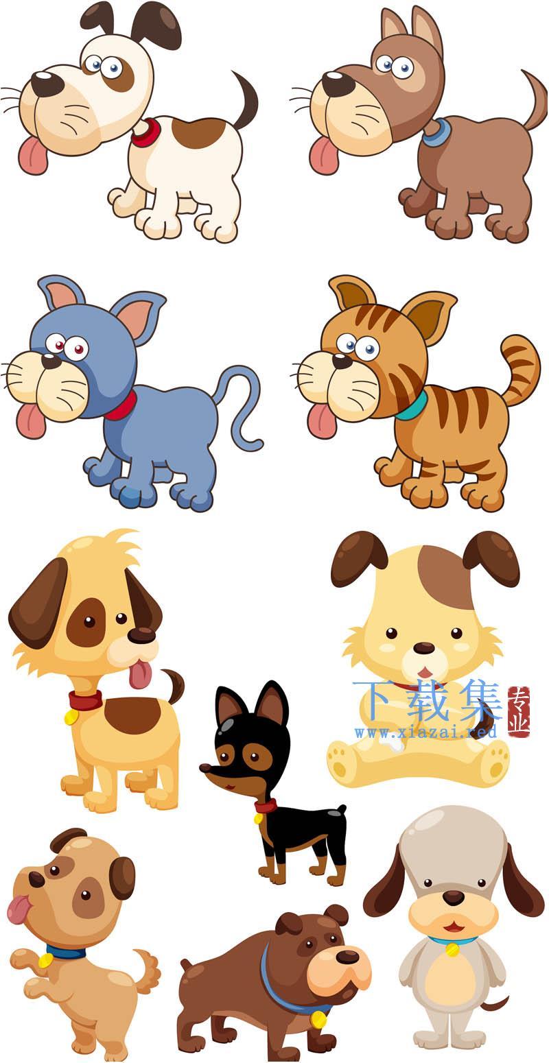 10个可爱小狗AI矢量素材