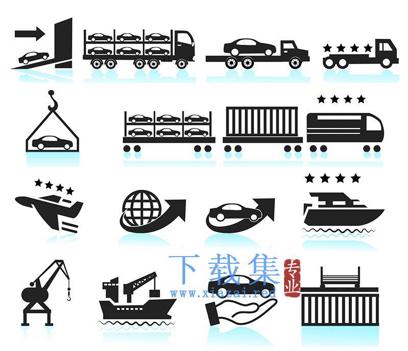 汽车航运运输交付AI矢量图标集