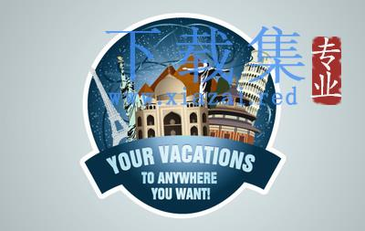 旅行旅游的世界古迹邮票LOGO模板AI矢量素材  第1张