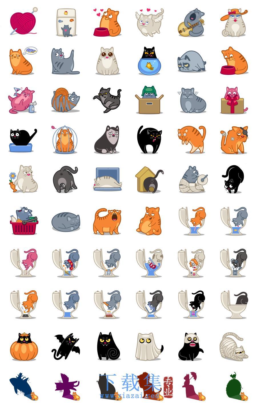 60个电力猫,各种颜色猫咪PNG免抠透明图