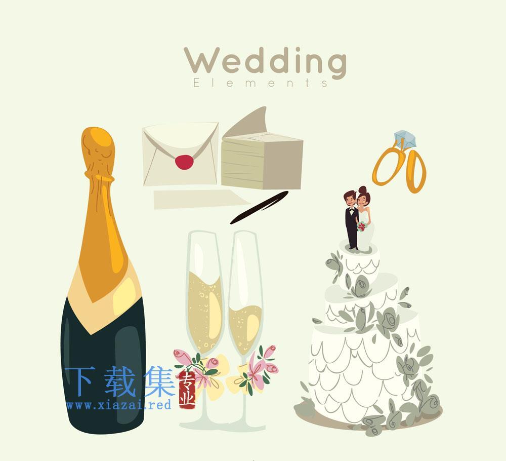 8个创意婚礼矢量用品