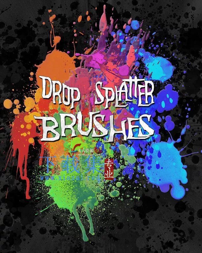 Rons颜料水墨水彩液体飞溅特效笔刷DropSplatterBrushes  第8张