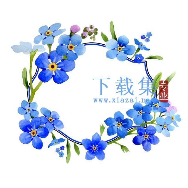 白色背景水彩花卉框架PNG免抠素材
