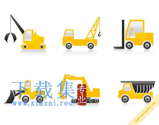 工程施工建筑机械PNG免抠图标