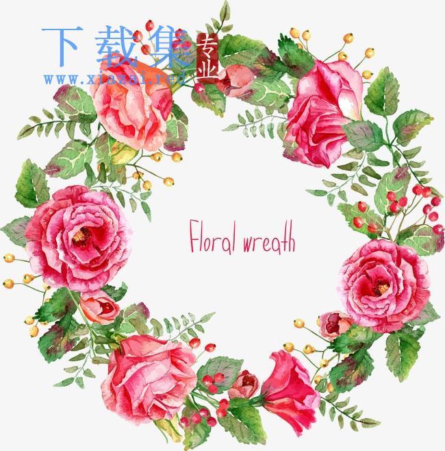 卡通手绘精美玫瑰花花环边框AI矢量素材