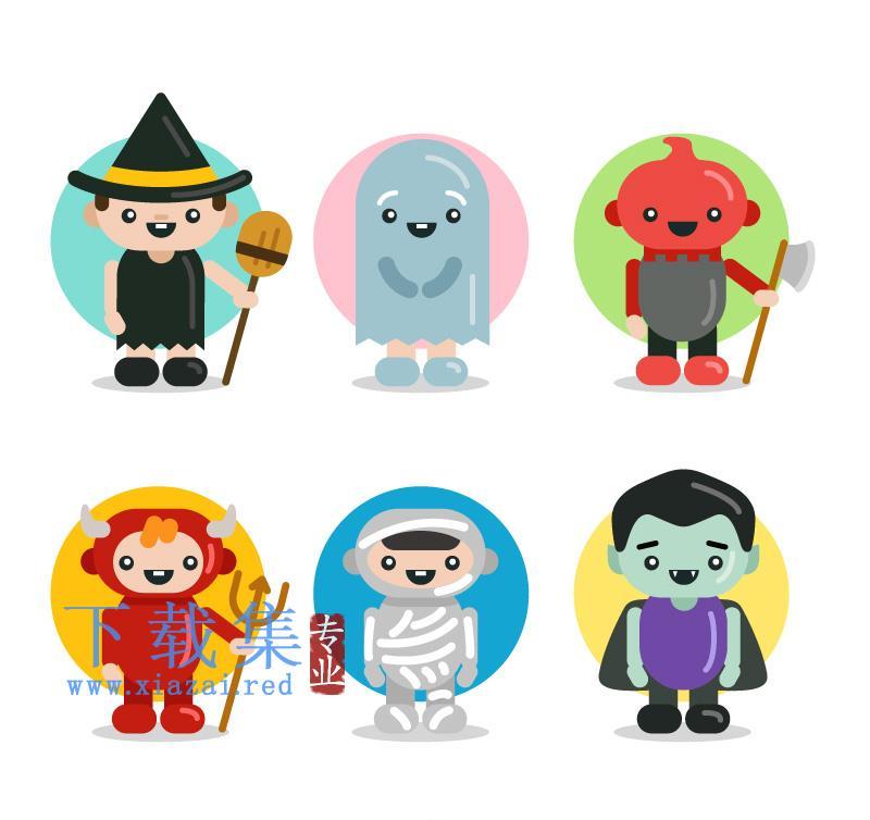 6个可爱万圣节人物装扮AI矢量素材  第1张