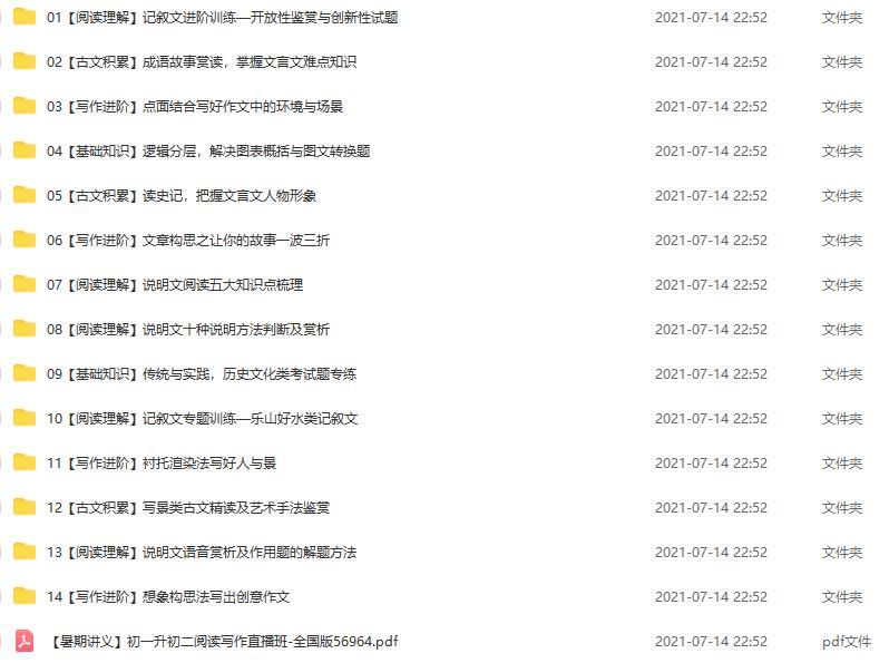 2021年暑期课程初二语文阅读写作班 陆杰峰