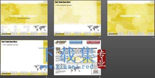 黄色淡雅经典PPT模板下载  第2张