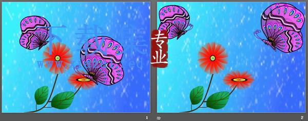 卡通风格蝴蝶花朵PPT模板  第2张