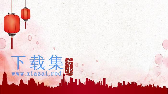 梅花灯笼背景的春节PPT背景图片  第3张